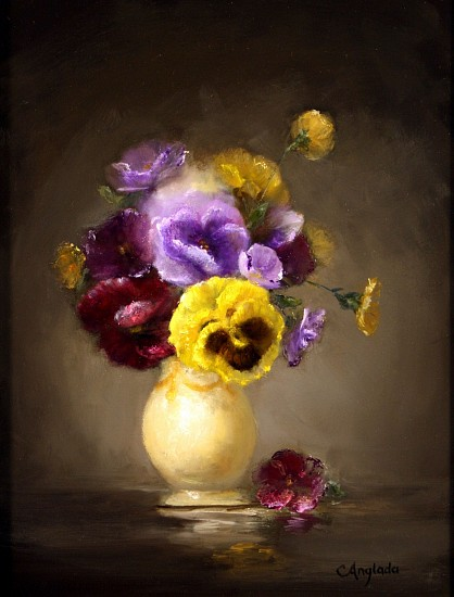 Carla Anglada, PENSAMIENTO (PANSY) Oil on Board