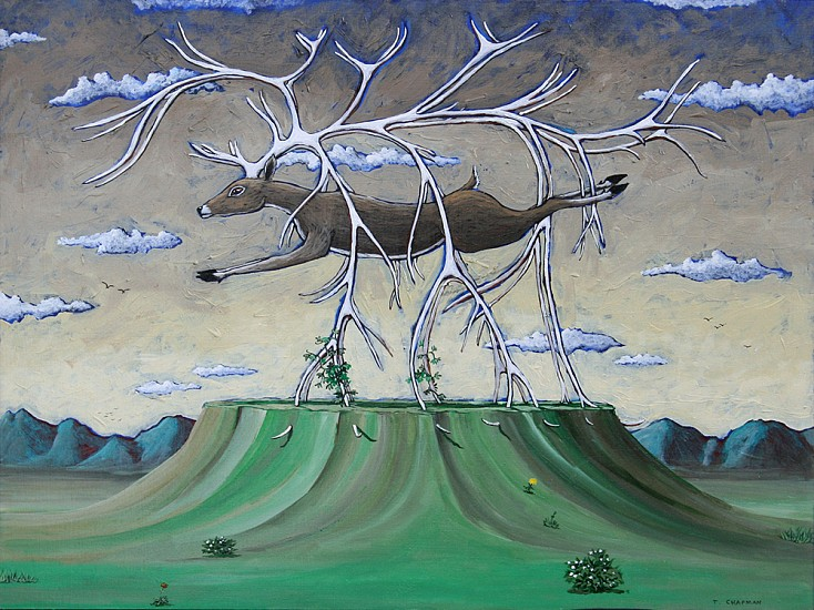 Timothy Chapman, FIELD OBSERVATORY NO. 33 (FLEEING STAG) 2014, Acrylic on Panel