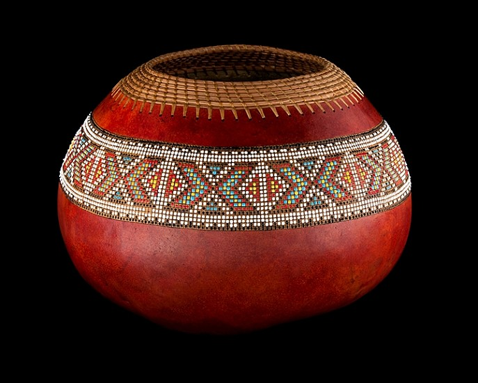 Judy Kelley, LARGE RED BOWL 2015, Pine Needles, Mixed Media on Gourd
