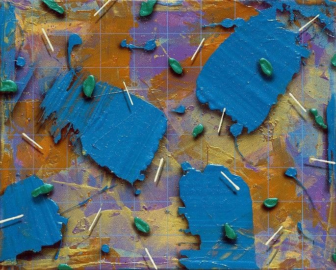Larry Hefner, BLUE GRID WITH BLUE FLOATERS Acrylic on Canvas