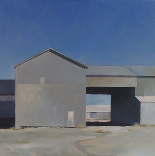 John Wolfe, WEST VIEW OF DAVIDSON COOP, COTTON GIN 2018, Acrylic on Panel